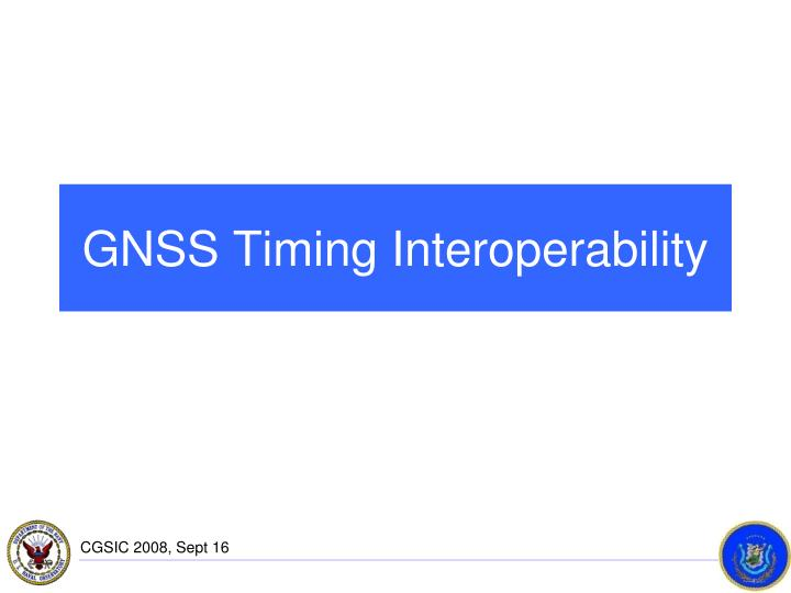 GNSS Timing Interoperability