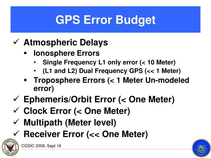 GPS Error Budget
