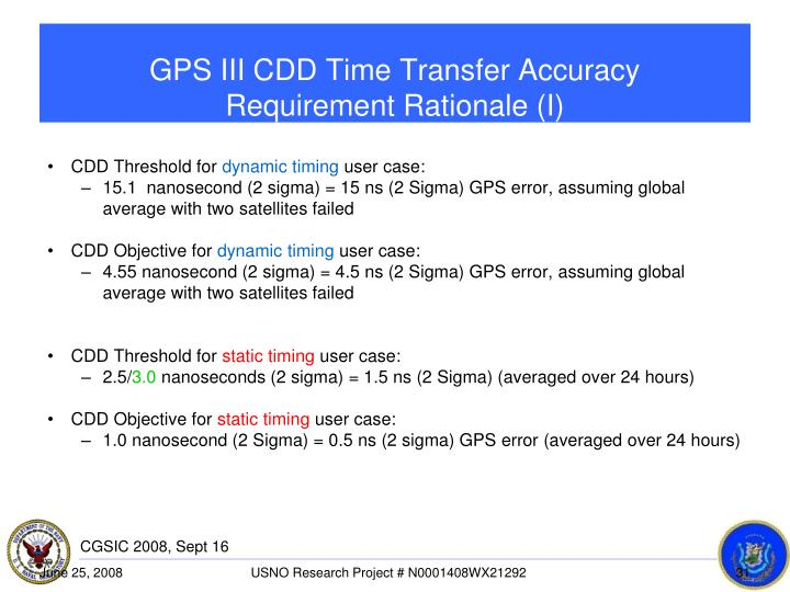 GPS III CDD Time Transfer Accuracy