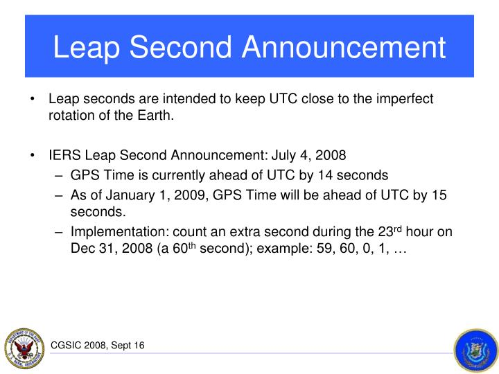 Leap Second Announcement