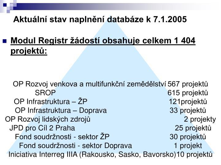 Aktuální stav naplnění databáze k 7.1.2005