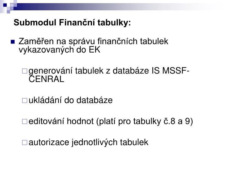 Submodul Finanční tabulky: