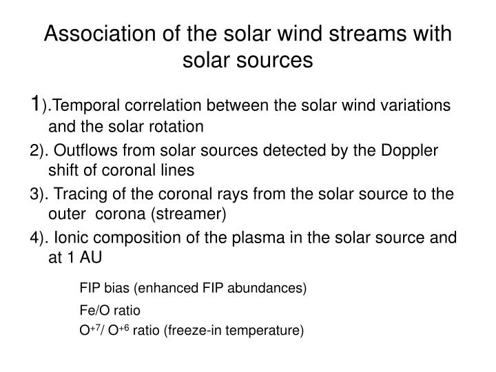 Association of the solar wind streams with solar sources