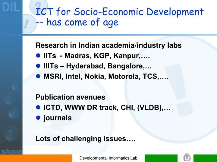 ICT for Socio-Economic Development