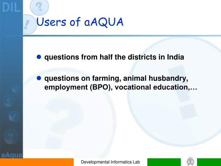 Users of aAQUA