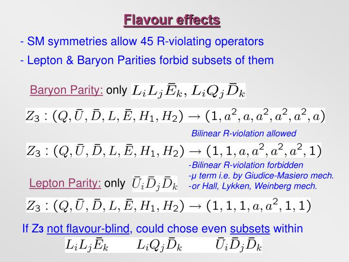 Flavour effects