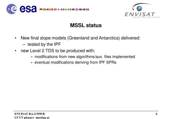 MSSL status