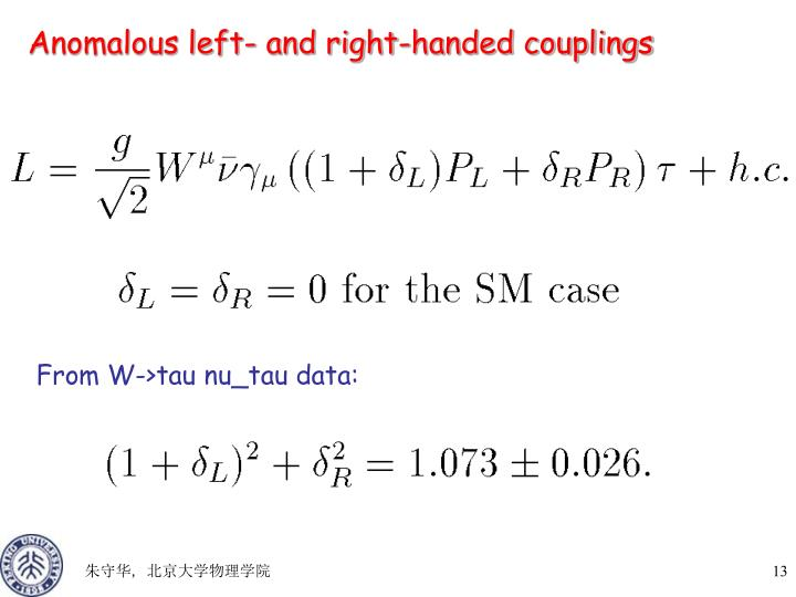 Anomalous left- and right-handed couplings