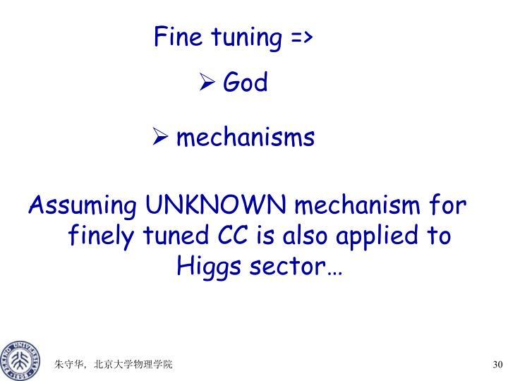 Fine tuning =>
