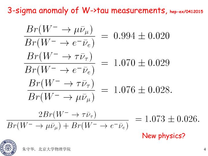 3-sigma anomaly of W->tau measurements,