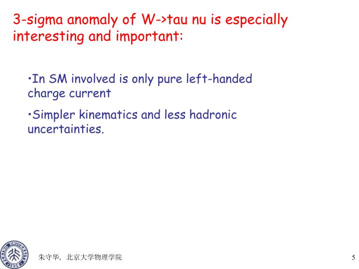 3-sigma anomaly of W->tau nu is especially interesting and important: