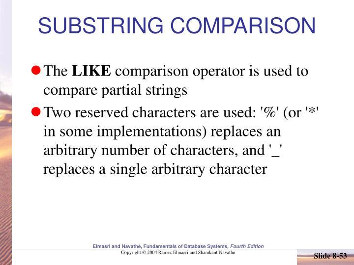 SUBSTRING COMPARISON