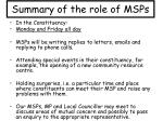 summary of the role of msps1