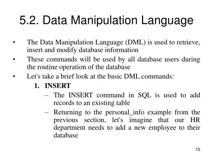5.2. Data Manipulation Language