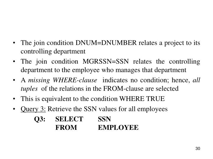 The join condition DNUM=DNUMBER relates a project to its controlling department