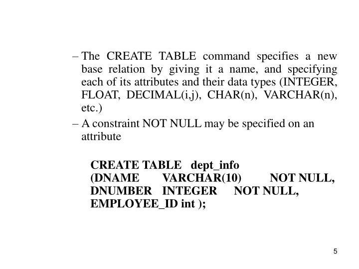 The CREATE TABLE command specifies a new base relation by giving it a name, and specifying each of its attributes and their data types (INTEGER, FLOAT, DECIMAL(i,j), CHAR(n), VARCHAR(n), etc.)