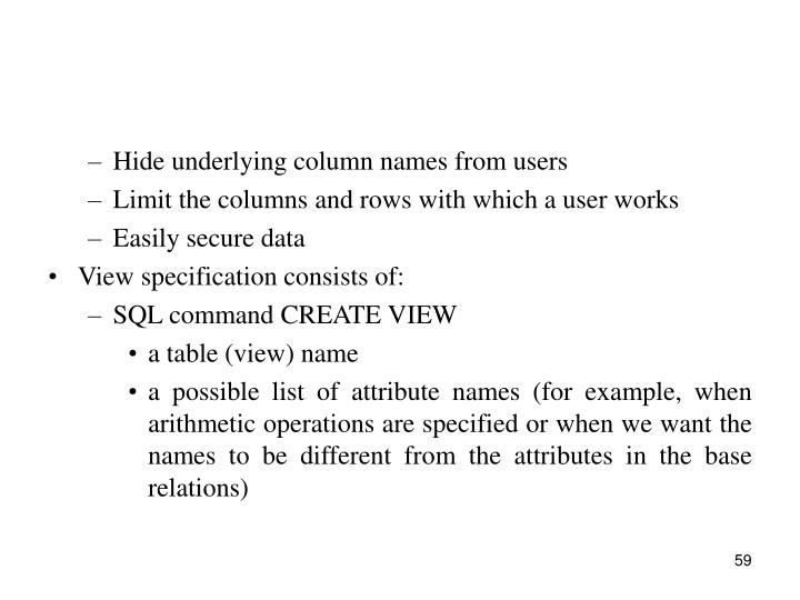Hide underlying column names from users