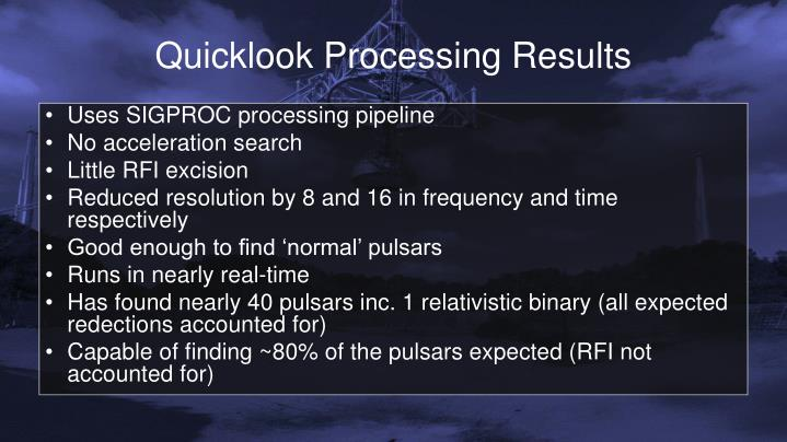 Quicklook Processing Results