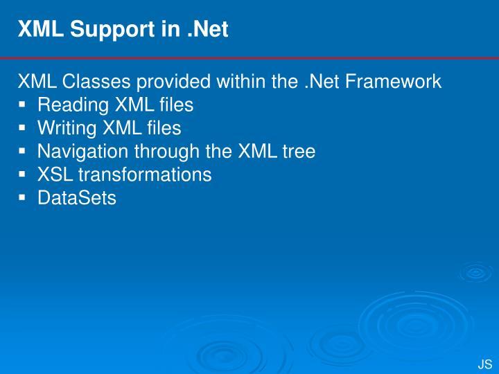 XML Support in .Net