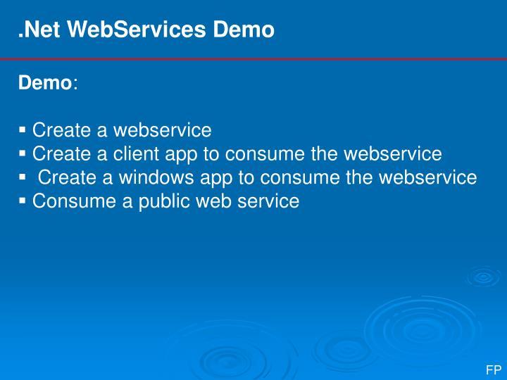 .Net WebServices Demo