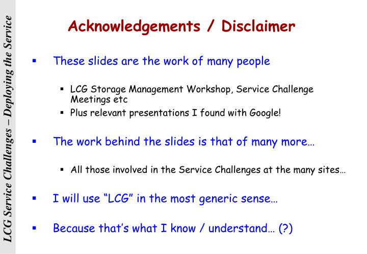 Acknowledgements / Disclaimer
