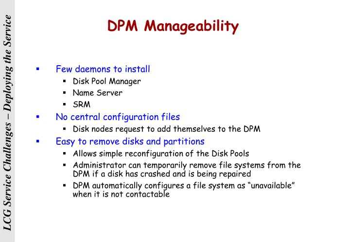 DPM Manageability