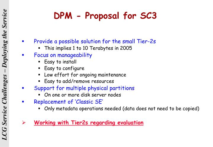 DPM - Proposal for SC3