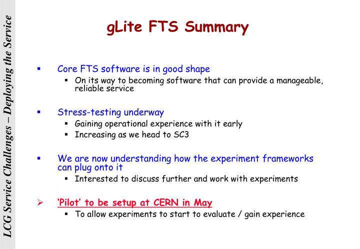 gLite FTS Summary
