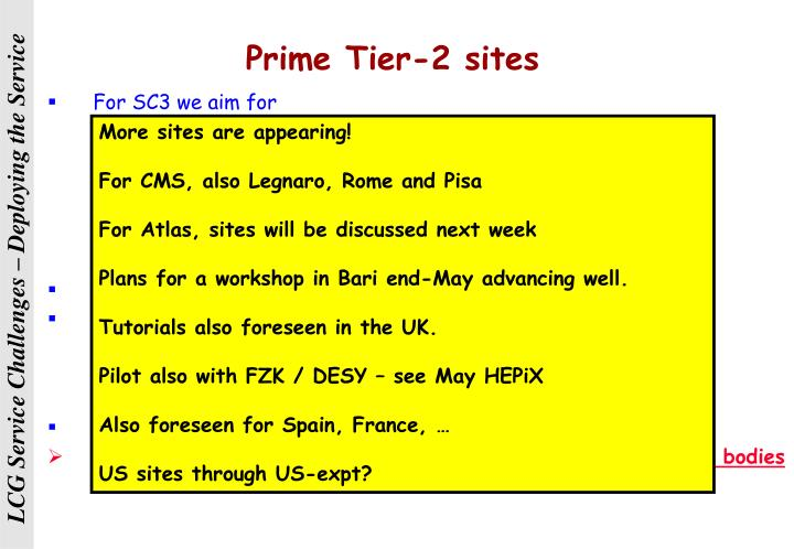 Prime Tier-2 sites