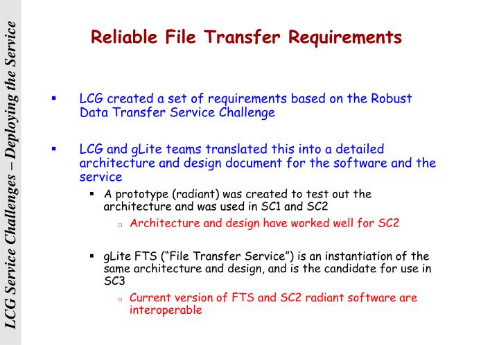 Reliable File Transfer Requirements
