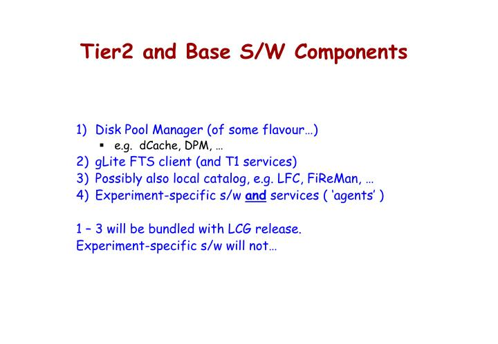 Tier2 and Base S/W Components