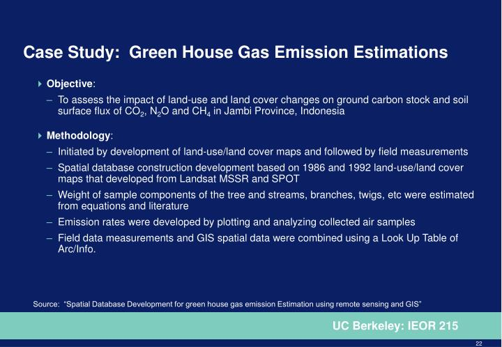 Case Study:  Green House Gas Emission Estimations