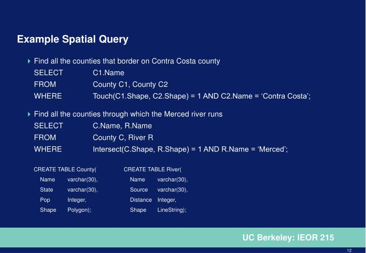 Example Spatial Query