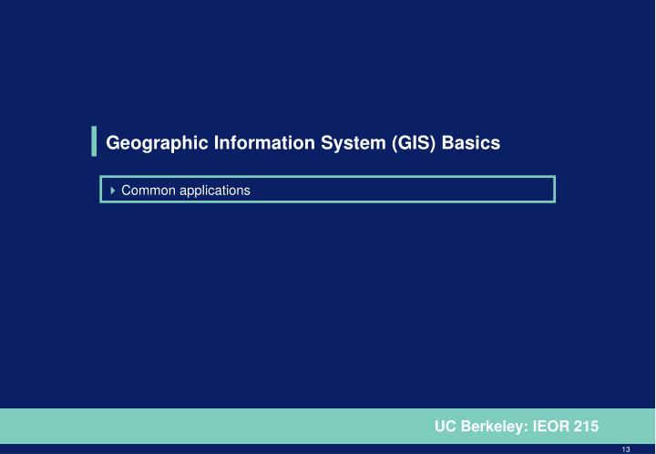 Geographic Information System (GIS) Basics