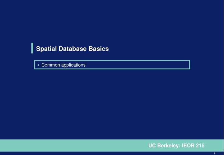Spatial Database Basics