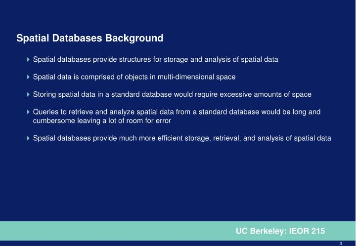 Spatial Databases Background