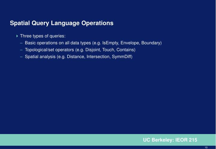 Spatial Query Language Operations