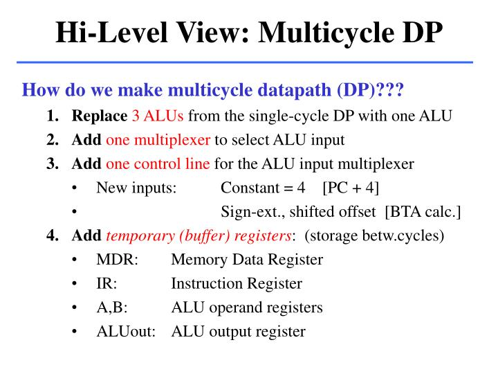 Hi-Level View: Multicycle DP