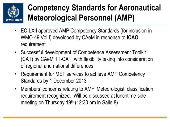 Competency Standards for Aeronautical Meteorological Personnel (AMP)