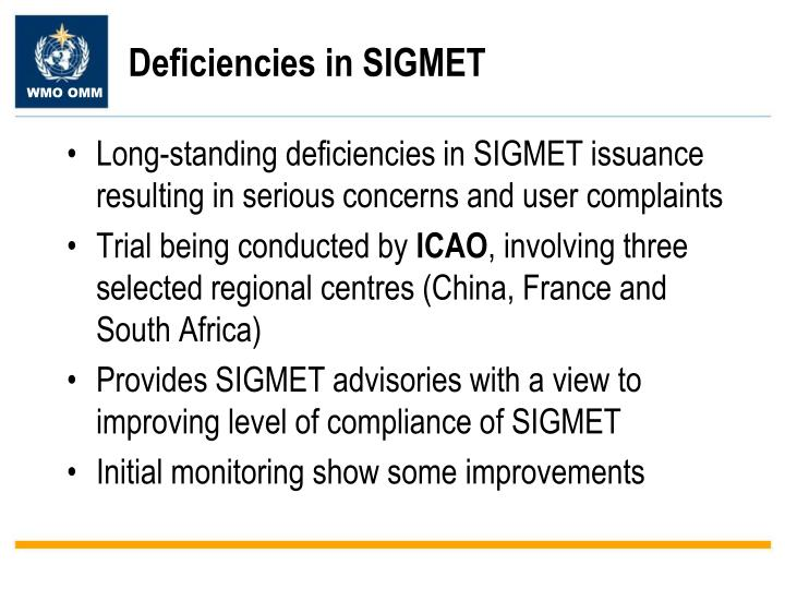 Deficiencies in SIGMET