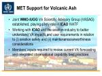 met support for volcanic ash