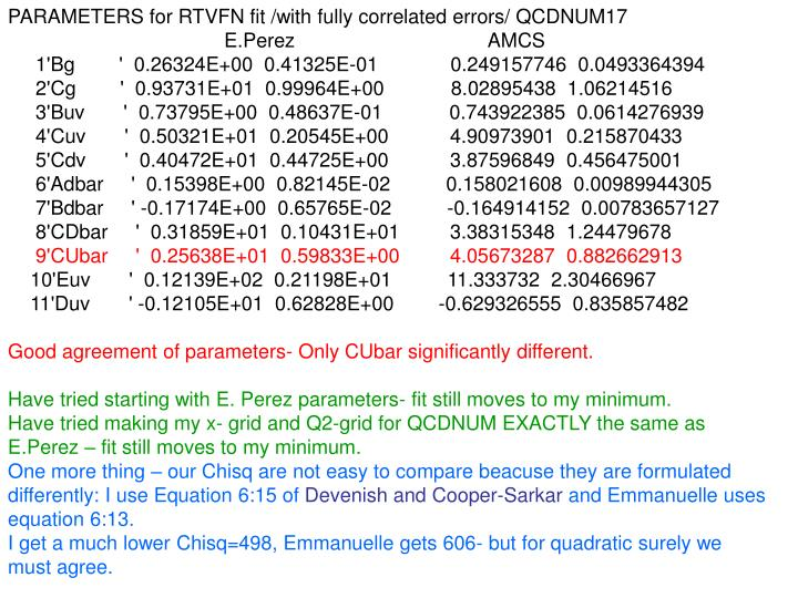 PARAMETERS for RTVFN fit /with fully correlated errors/ QCDNUM17