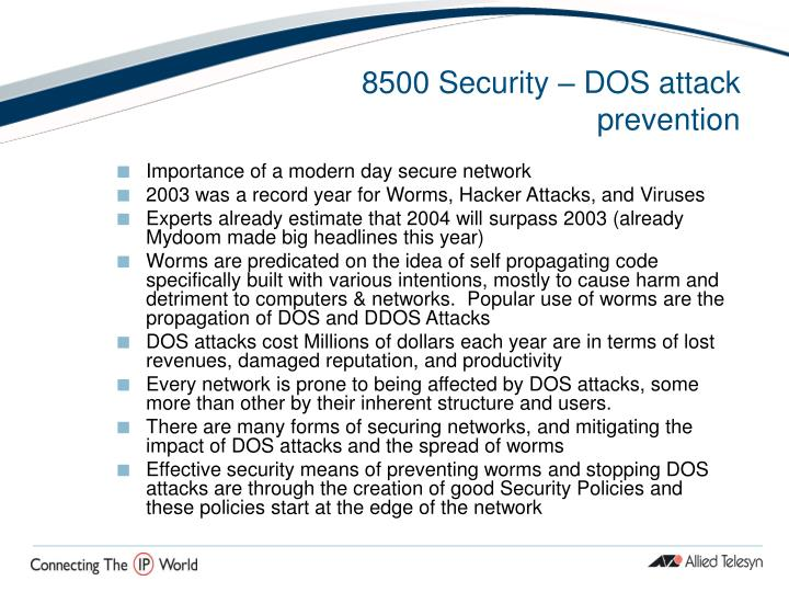 8500 Security – DOS attack prevention