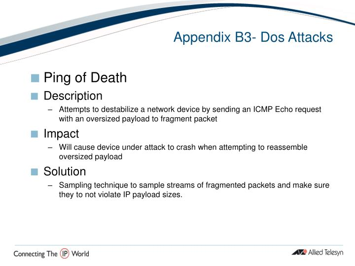 Appendix B3- Dos Attacks