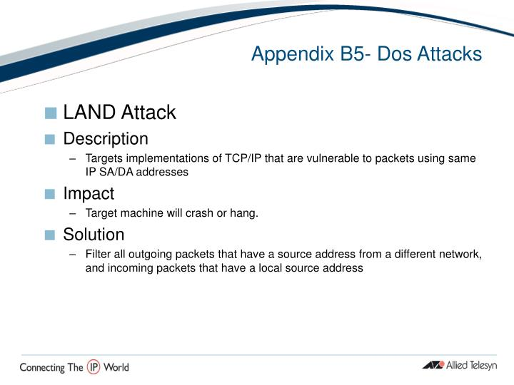 Appendix B5- Dos Attacks