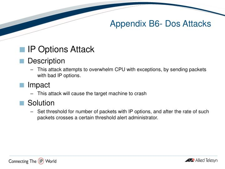 Appendix B6- Dos Attacks