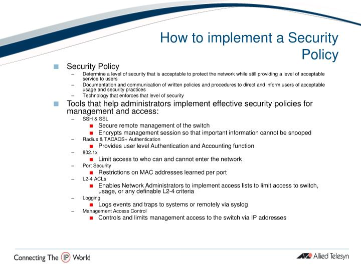 How to implement a Security Policy