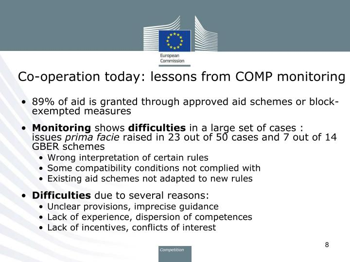 Co-operation today: lessons from COMP monitoring