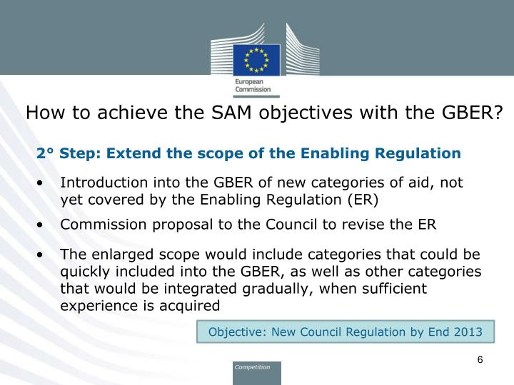 How to achieve the SAM objectives with the GBER?