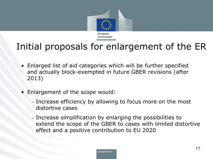 Initial proposals for enlargement of the ER